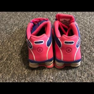 Pink, White and Blue Nike Shox